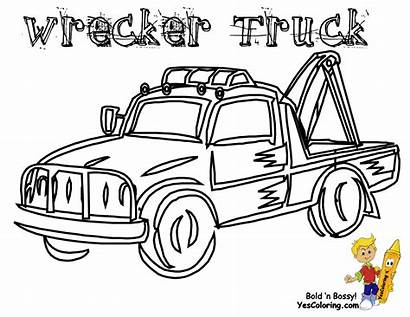 Coloring Truck Tow Trucks Wrecker Transportation Pages