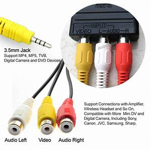 3 5mm Aux Male To 3rca Female Cable Composite Stereo Audio Av Adapter Cord  Generic