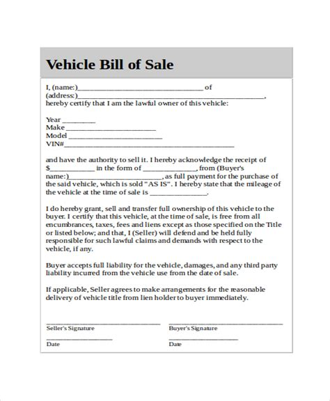 auto bill of sale template generic bill of sale template 12 free word pdf document downloads free premium templates