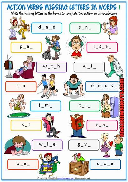 Verbs Action Words Missing Worksheets Letters Exercise