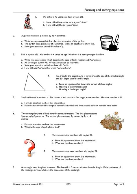 solving algebraic equations worksheets ks3 basic algebra