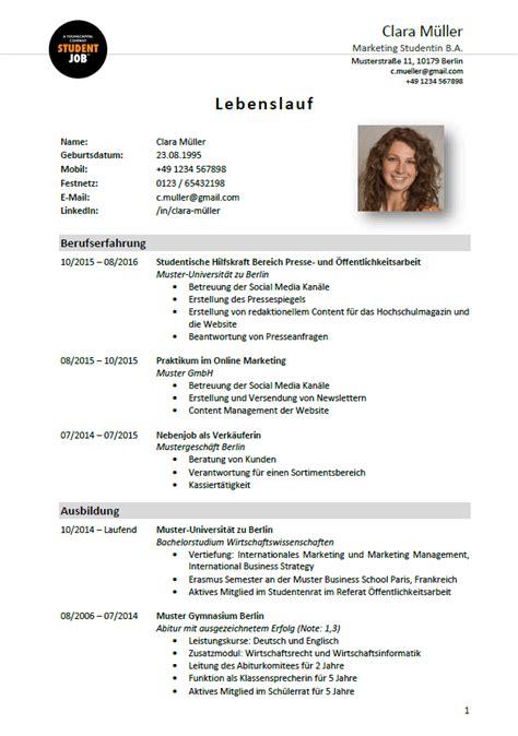 Beispiel Für Einen Lebenslauf by 15 Lebenslauf Bewerbung Schule Exemple Cv Etudiant
