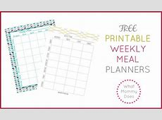Free Printable Weekly Meal Planning Templates and a week