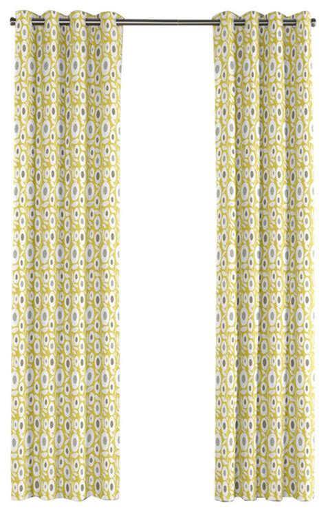modern lime green floral grommet curtain contemporary