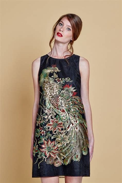 louche peacock proud embroidered shift dress