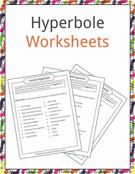 hyperbole exles definition worksheets kidskonnect