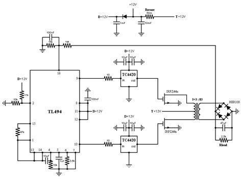 Tl494 Inverter Circuit by A 12 220 Inverter Hv Part With Tl494