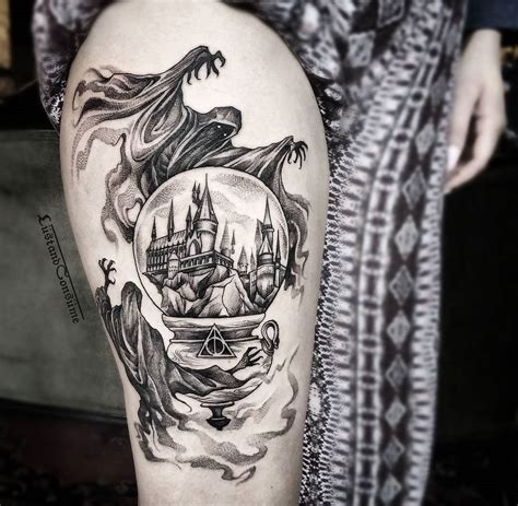 harry potter thigh tattoo  dementors hogwarts