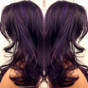 Purple highlights on dark plum hair by Robin! | Hair ...