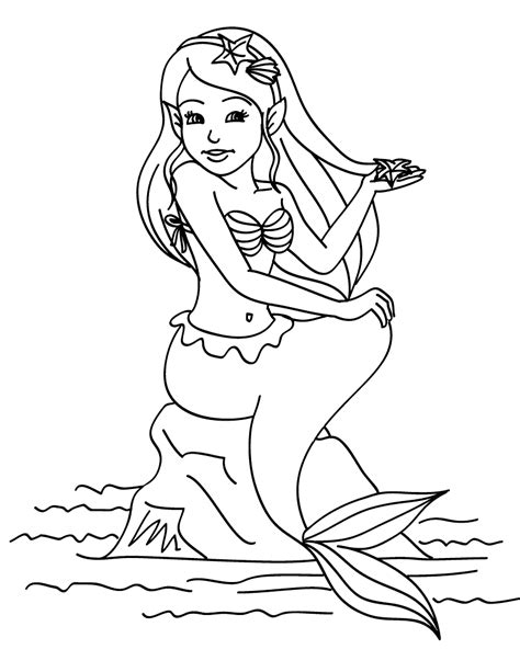 coloring page mermaid sitting   rock