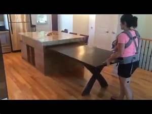 Ilot de cuisine table coulissante action de retour youtube for Deco cuisine pour table rectangulaire avec rallonge
