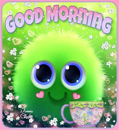 cute fuzzy ball good morning image pictures