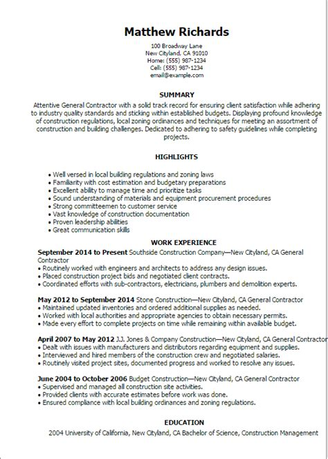 1 general contractor resume templates try them now