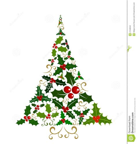 193 rbol de navidad del acebo ilustraci 243 n del vector imagen