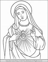 Mary Coloring Virgin Immaculate Heart Pages Catholic Mother Blessed Sacred Sheets Jesus Printable Lady Thecatholickid Teresa Rosary Adult Colouring Drawing sketch template