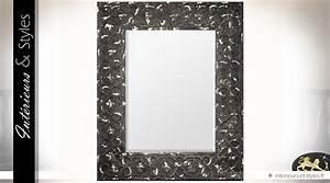 Miroir Metal Noir : grand miroir en m tal coloris noir aspect vieilli 110 cm int rieurs styles ~ Teatrodelosmanantiales.com Idées de Décoration