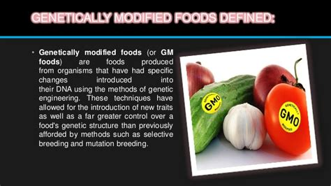 Modified Product Definition genetically modified products sts100