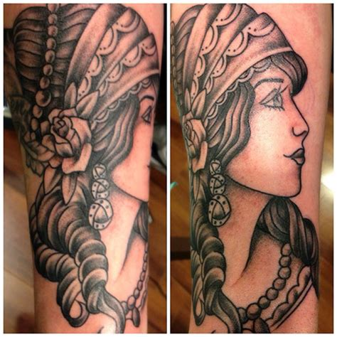 Traditional Black And Gray Gypsy  Pittsburgh Tattoo Studio