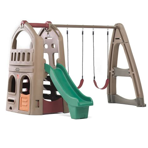 backyard playset naturally playful playhouse climber swing extension