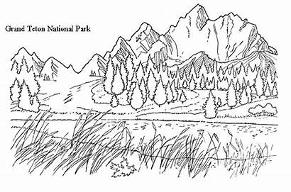 Coloring Pages Mountain Mountains Realistic National Park