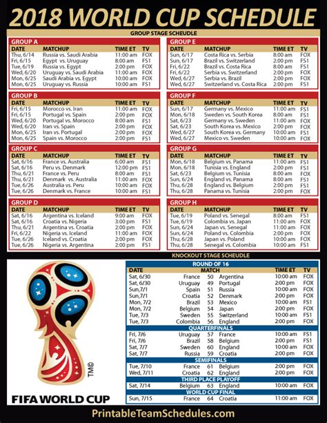 printable world cup soccer tv schedule
