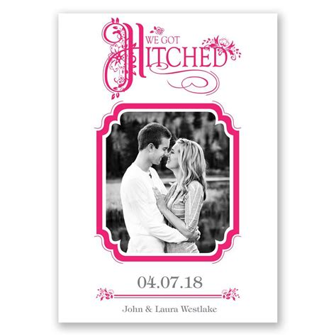 hitched wedding announcement invitations  dawn