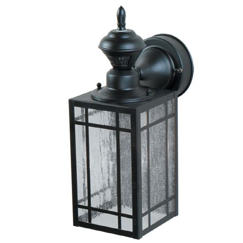 motion activated porch light shop portfolio black motion activated outdoor wall light