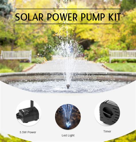 3 5w solar power pond pool water feature kit