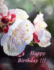 Happy Birthday Cards Flowers Painting