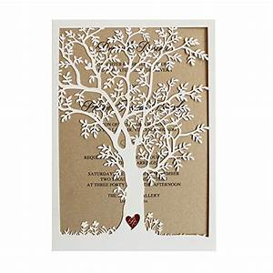 laser cut tree wedding invitation fall wedding invitation With wedding invitation packs 50