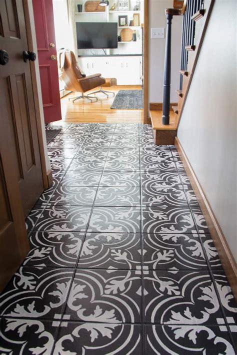 cement tile floor faux cement tile painted floors bright green door