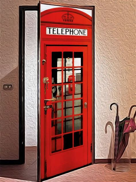 door sticker english telephone box wallpaper door mural