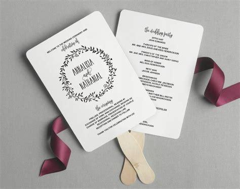 free wedding program fan wedding program fan wedding program printable rustic wedding ceremony printable template diy