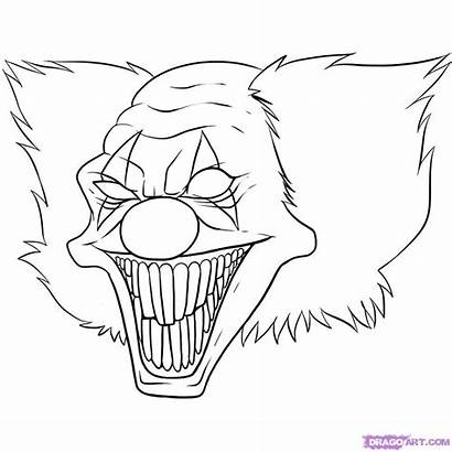 Clown Coloring Evil Dibujos Amor Scary Drawings