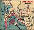 San Diego Street Map circa 1935