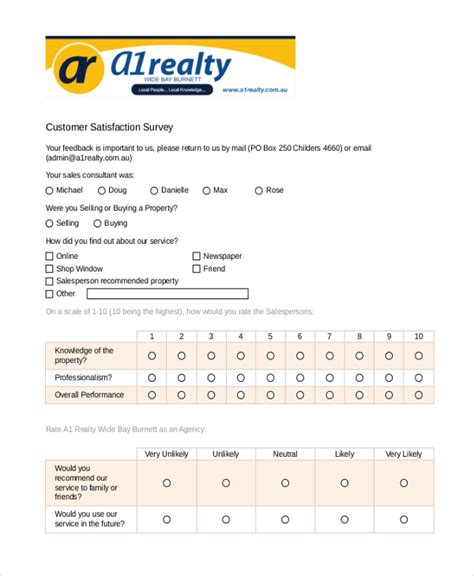 sample survey form examples   ms word excel