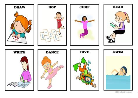 Pdf or read online from scribd. ACTION VERBS - Flash cards (Set 1) - English ESL ...