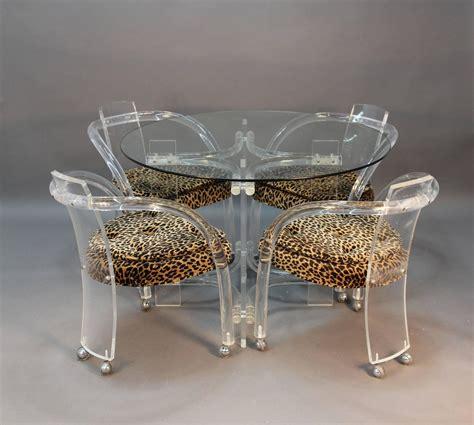 lucite table   chair set  leopard print seats