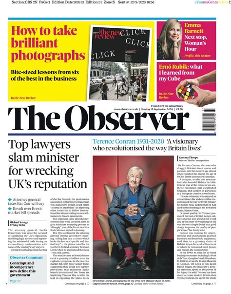 Observer Front Page 20th of September 2020 - Tomorrow's ...