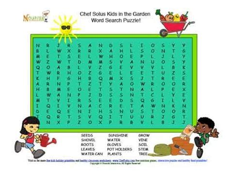Kids in the Garden Word Search Puzzle