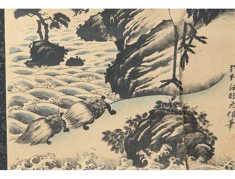 Estampe japonaise rouleau paysage montagne héron tortues
