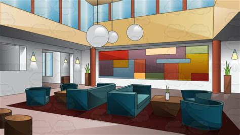 A Swanky Art Deco Style Hotel Lobby Cartoon Clipart   Vector Toons