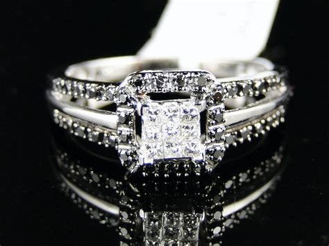 white gold womens bridal engagement princess cut black diamond ring ebay