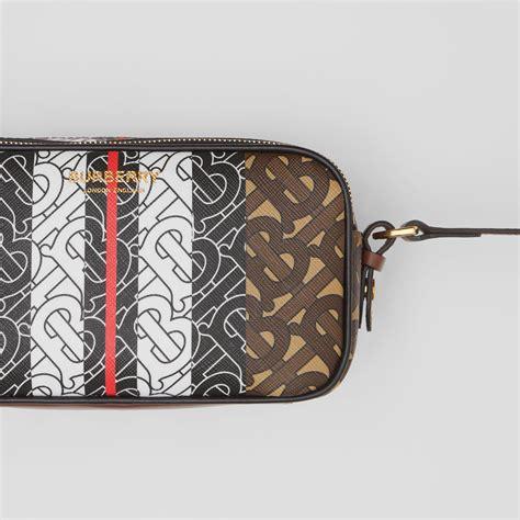 mini monogram stripe  canvas camera bag  bridle brown burberry united states
