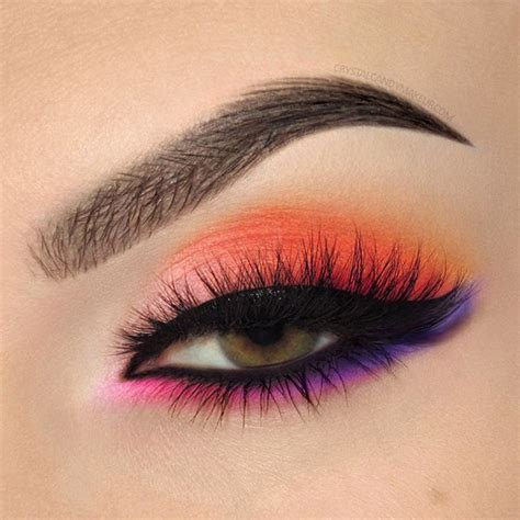 purple and orange make what color bright orange pink and purple eye look with make up for