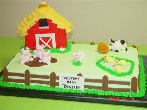 Farmhouse+fun+shower+sheet+cakes  Farm Theme Baby Shower