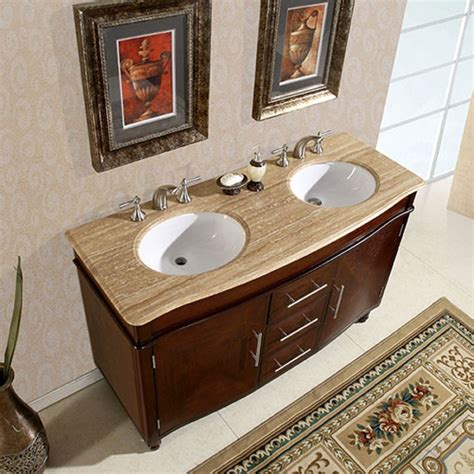 double sink bathroom vanity top 55 inch double sink vanity with travertine top and