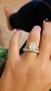 Wide Engagement Ring With Thin Wedding Band Wide Diamond Wedding ...