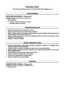 mcdonalds resume sles cashiers cashier resume how to write 16 exles