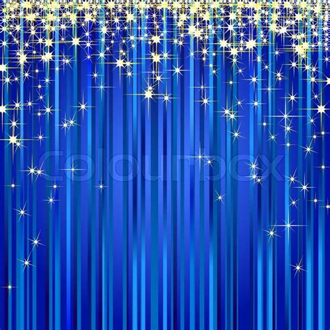 illustration of a blue curtain with gold